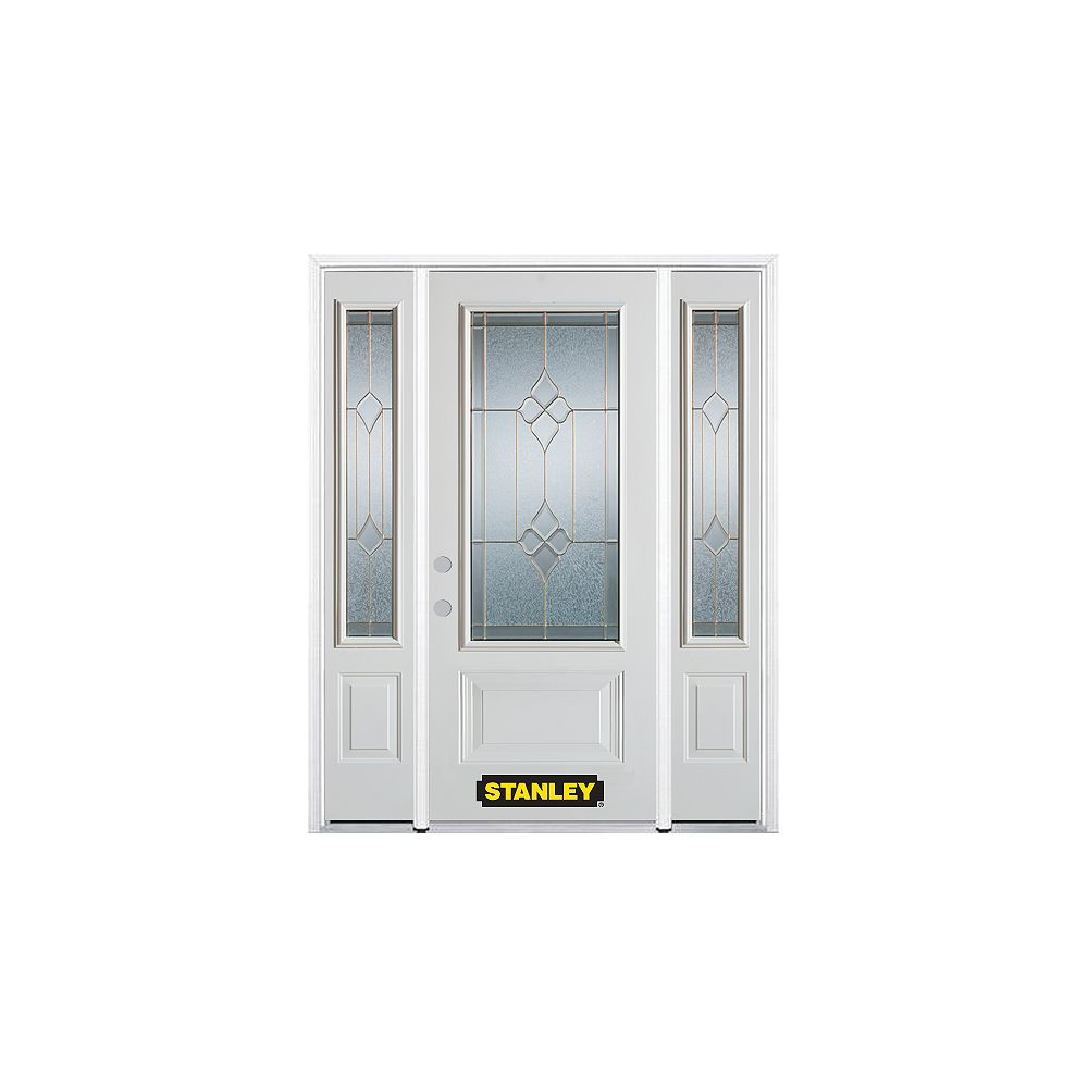 STANLEY Doors 66.5 inch x 82.375 inch Beatrice Brass 3/4 Lite 1-Panel Prefinished White Right-Hand Inswing Steel Prehung Front Door with Sidelites and Brickmould