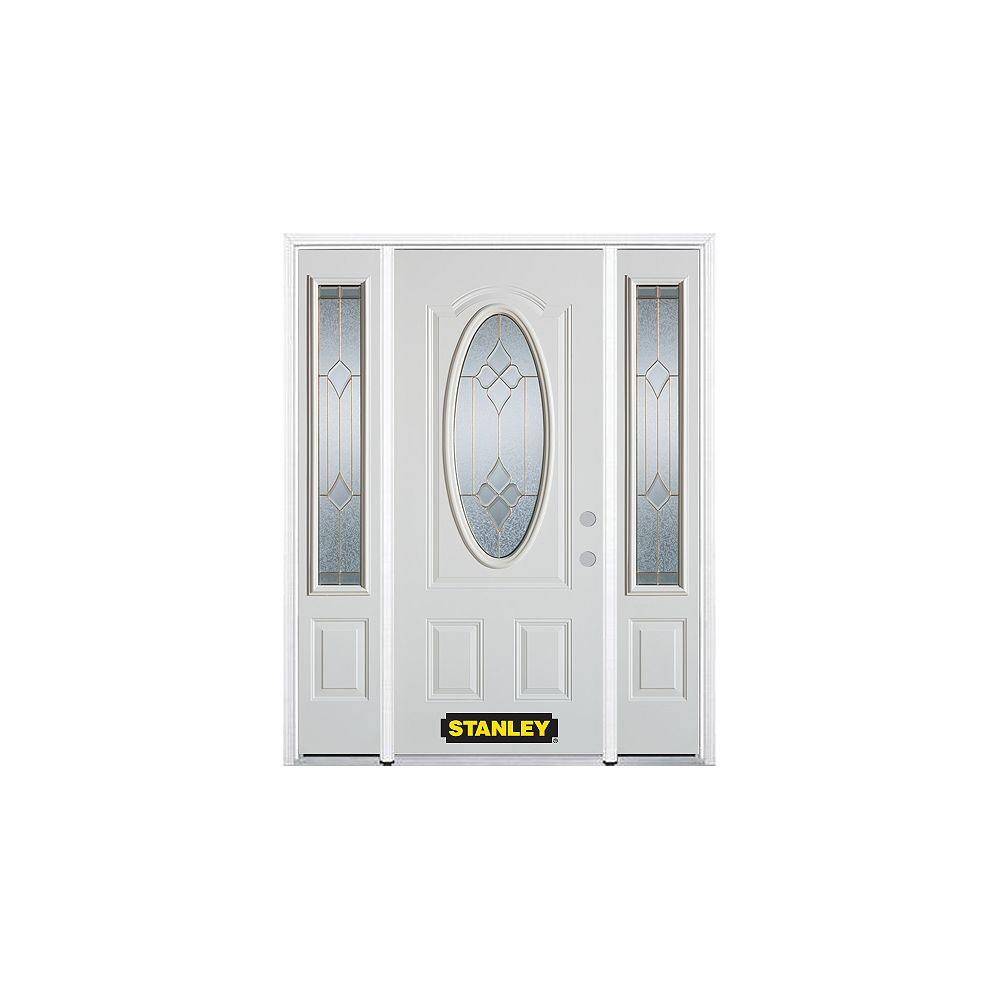 STANLEY Doors 64.5 inch x 82.375 inch Beatrice Brass 3/4 Oval Lite 2-Panel Prefinished White Left-Hand Inswing Steel Prehung Front Door with Sidelites and Brickmould