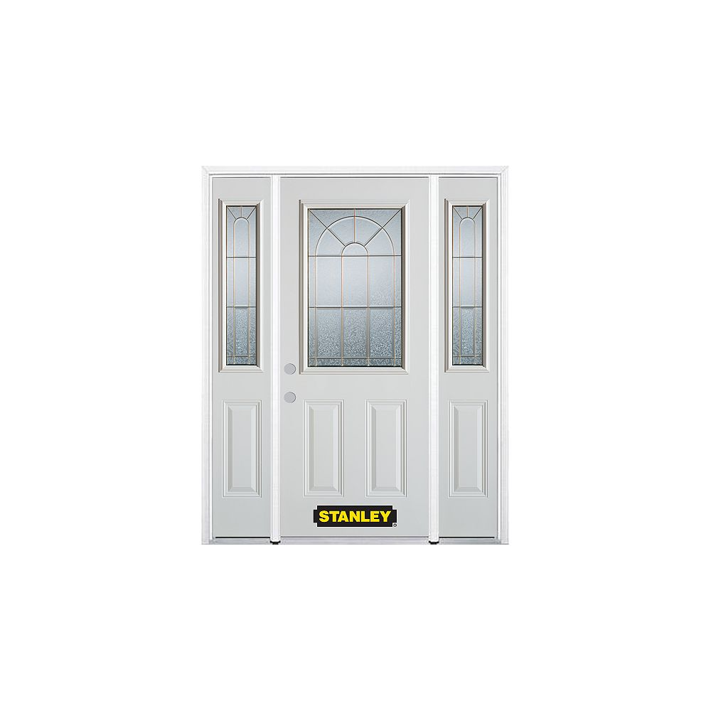 STANLEY Doors 68.5 inch x 82.375 inch Elisabeth Brass 1/2 Lite 2-Panel Prefinished White Right-Hand Inswing Steel Prehung Front Door with Sidelites and Brickmould