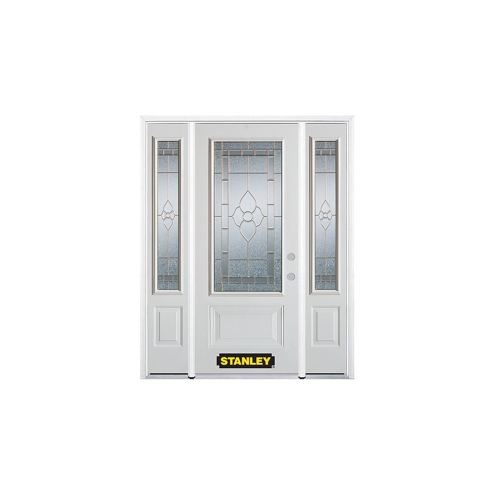 STANLEY Doors 68.5 inch x 82.375 inch Marguerite Brass 3/4 Lite 1-Panel Prefinished White Left-Hand Inswing Steel Prehung Front Door with Sidelites and Brickmould