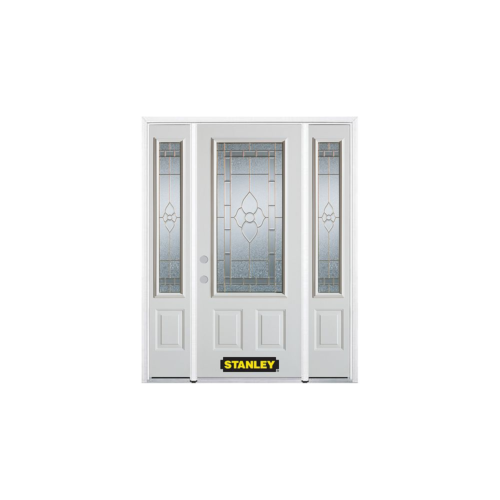 STANLEY Doors 66.5 inch x 82.375 inch Marguerite Brass 3/4 Lite 2-Panel Prefinished White Right-Hand Inswing Steel Prehung Front Door with Sidelites and Brickmould - ENERGY STAR®