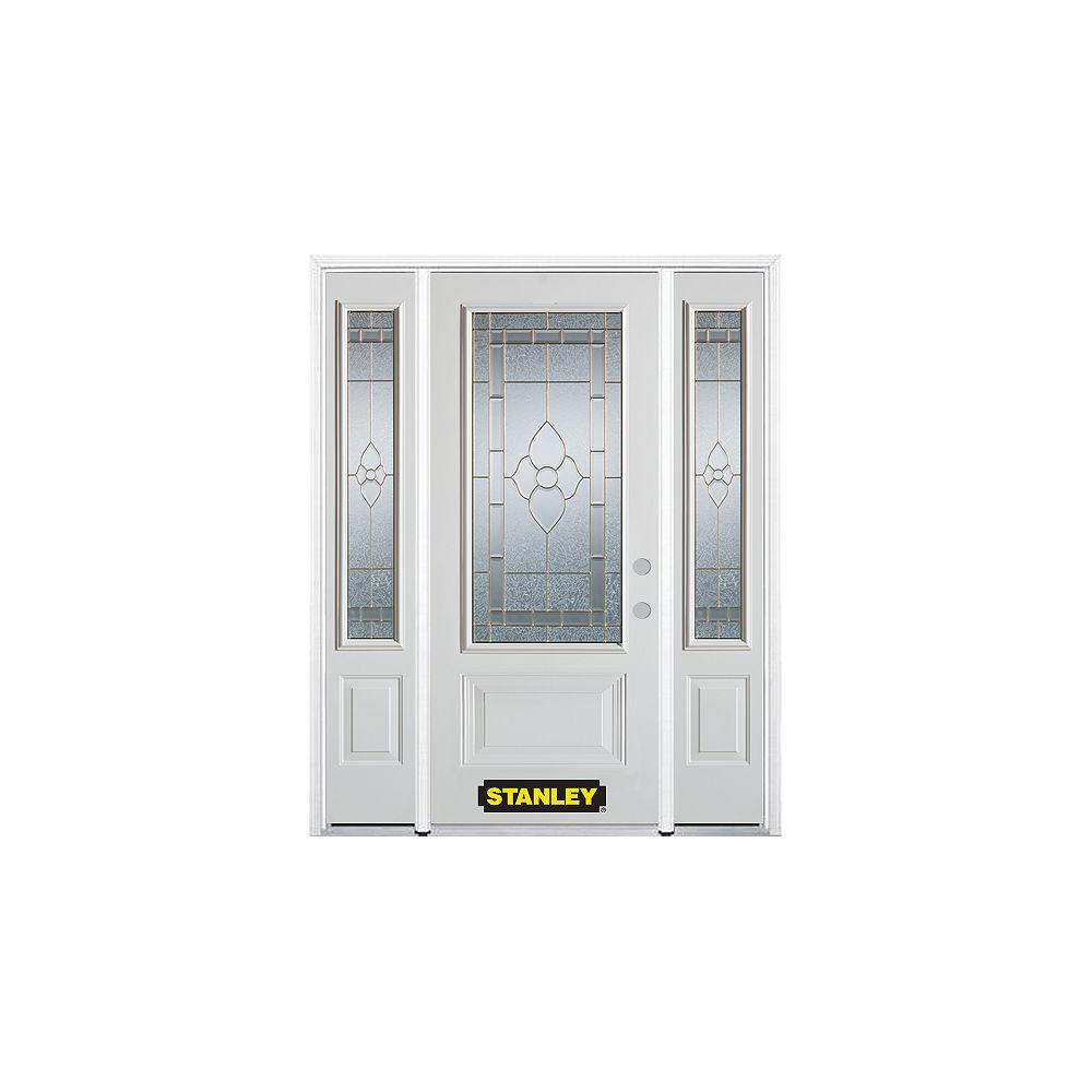 STANLEY Doors Porte dentrée en acier préfini en blanc, munie de deux panneaux et dun 3/4 verre, 66 po x 82 po avec panneaux latéraux et moulure de brique - ENERGY STAR®