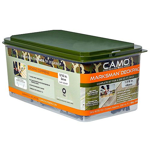 Camo 7 X 1-7/8 pouces Star Drive Trim Head Deck Fasteners And Tool Diy Starter Kit In Green - 700-Piece