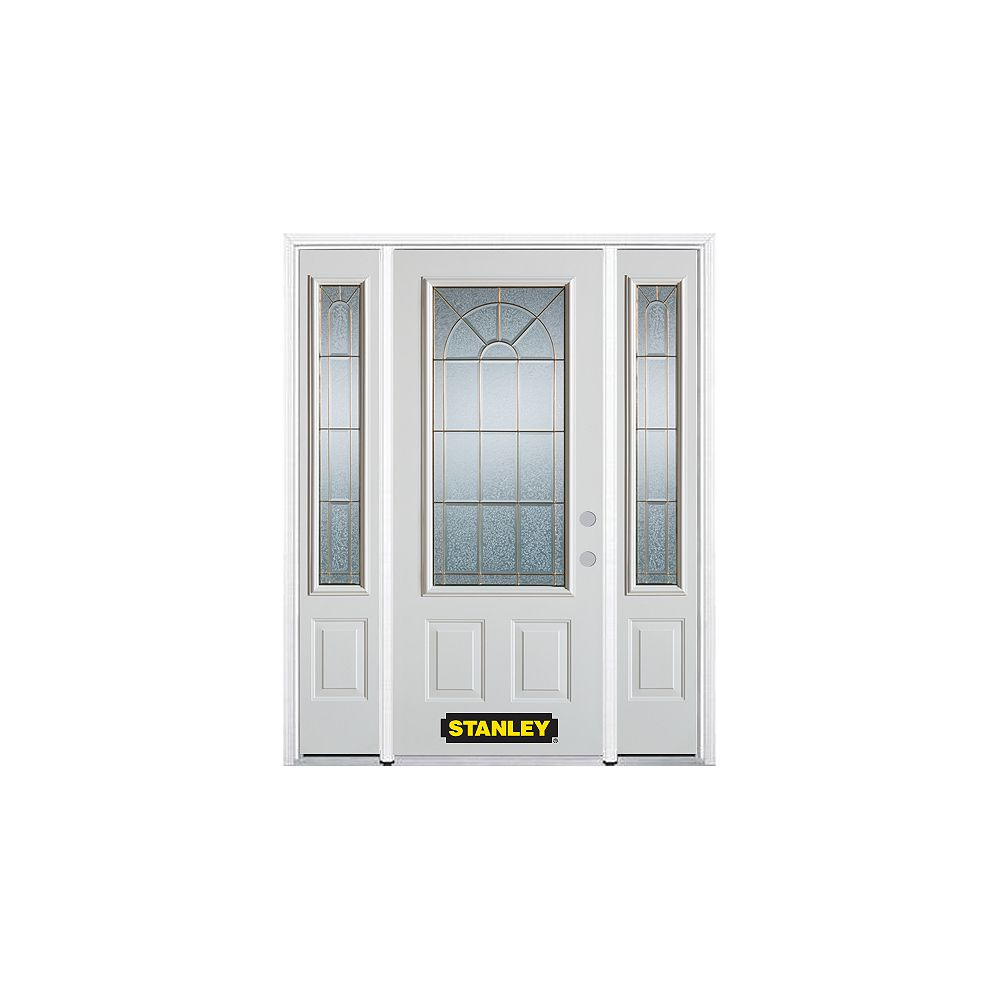 STANLEY Doors 68.5 inch x 82.375 inch Elisabeth Brass 3/4 Lite 2-Panel Prefinished White Left-Hand Inswing Steel Prehung Front Door with Sidelites and Brickmould - ENERGY STAR®