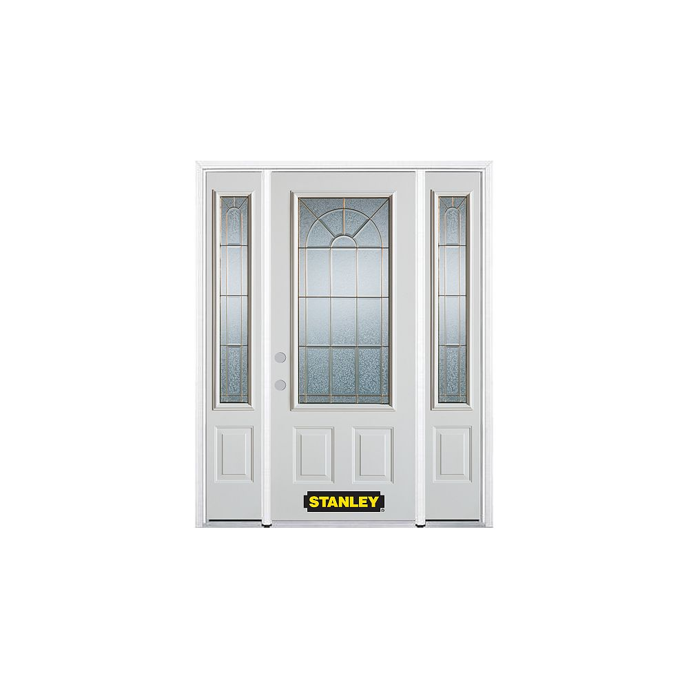 STANLEY Doors 68.5 inch x 82.375 inch Elisabeth Brass 3/4 Lite 2-Panel Prefinished White Right-Hand Inswing Steel Prehung Front Door with Sidelites and Brickmould