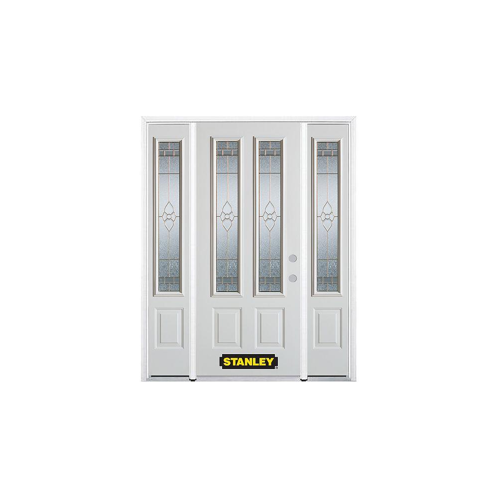 STANLEY Doors Porte dentrée en acier préfini blanc, munie de deux panneaux et de deux verre, 74 po x 82 po avec astragale et moulure de brique