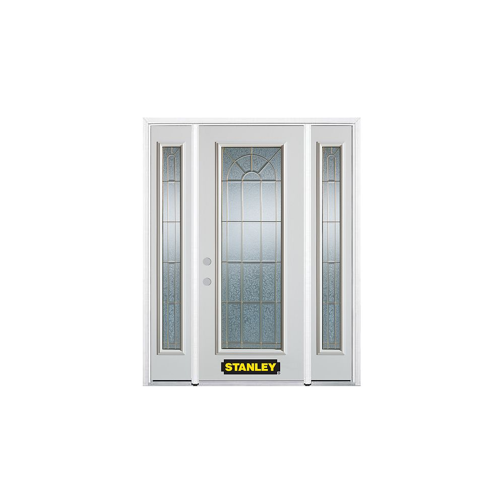 STANLEY Doors 68.5 inch x 82.375 inch Elisabeth Brass Full Lite Prefinished White Right-Hand Inswing Steel Prehung Front Door with Sidelites and Brickmould