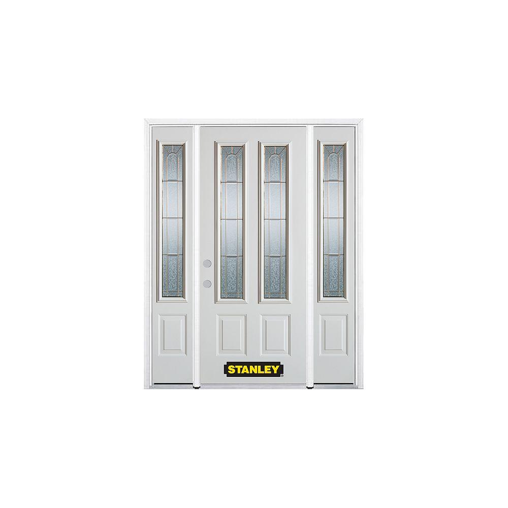 STANLEY Doors Porte dentrée en acier préfini en blanc, munie de deux panneaux et de deux verre, 64 po x 82 po avec panneaux latéraux et moulure de brique