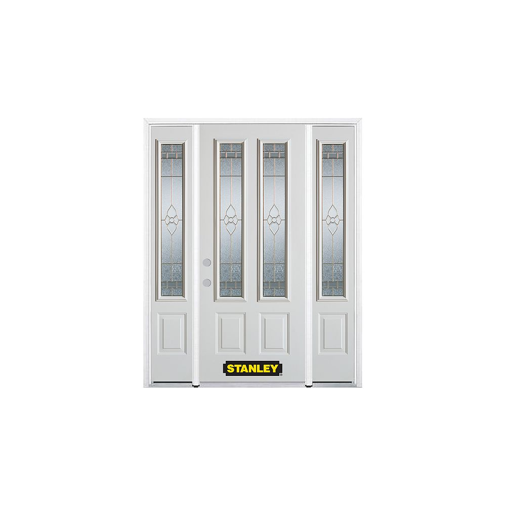 STANLEY Doors 68.5 inch x 82.375 inch Marguerite Brass 2-Lite 2-Panel Prefinished White Right-Hand Inswing Steel Prehung Front Door with Sidelites and Brickmould