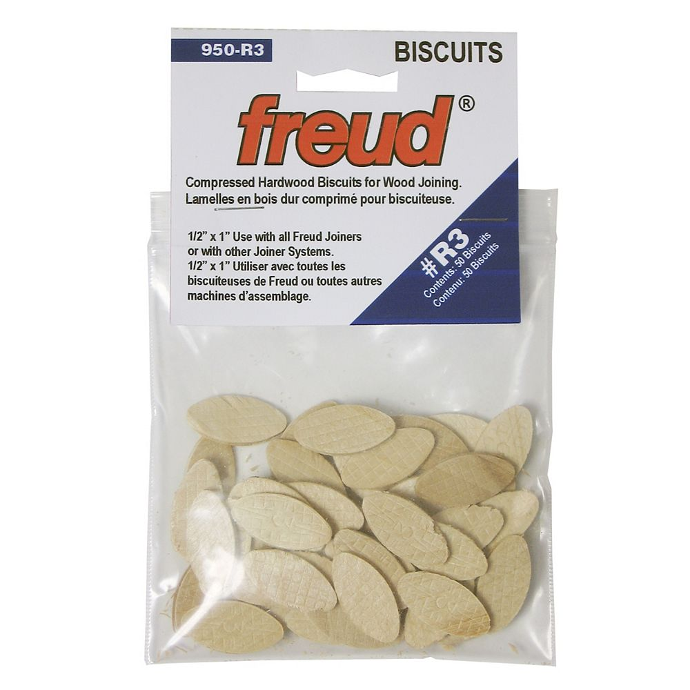 Freud #R3 1/2-inch x 1-inch Compressed Hardwood Biscuits for Wood Joining (50 Pack)