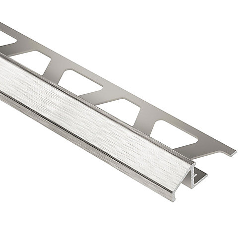 Reno-U Brushed Nickel Anodized Aluminum 3/8 in. x 8 ft. 2-1/2 in. Metal Reducer Tile Edging Trim