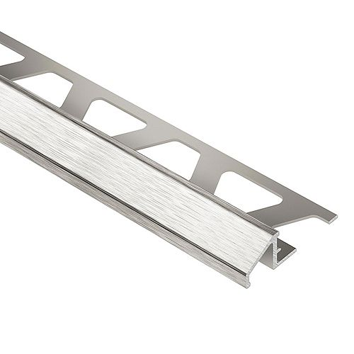Reno-U Brushed Nickel Anodized Aluminum 3/8 in. x 8 ft. 2-1/2 in. Metal Reducer Tile Edging Trim