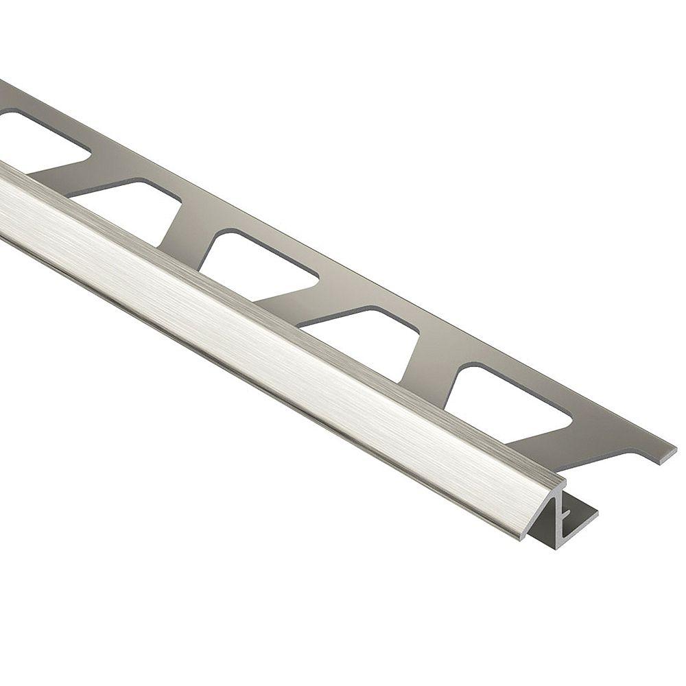 Schluter Reno-TK Brushed Nickel Anodized Aluminum 3/8 in. x 8 ft. 2-1/2 in. Metal Reducer Tile Edging Trim