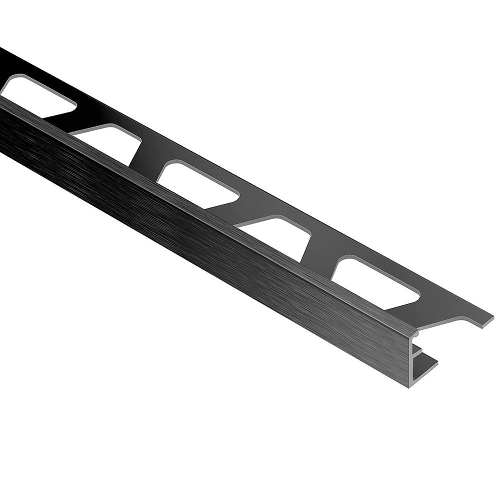 Schluter Jolly Brushed Graphite Anodized Aluminum 3/8 in. x 8 ft. 2-1/2 in. Metal Tile Edging Trim
