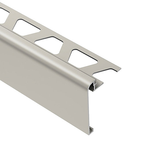 Rondec-Step Satin Nickel Anodized Aluminum 3/8 in. x 8 ft. 2-1/2 in. Metal Tile Edging Trim