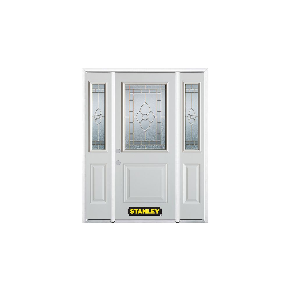 STANLEY Doors 68.5 inch x 82.375 inch Marguerite Brass 1/2 Lite 1-Panel Prefinished White Right-Hand Inswing Steel Prehung Front Door with Sidelites and Brickmould