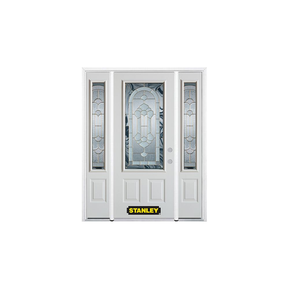 STANLEY Doors 66.5 inch x 82.375 inch Radiance Brass 3/4 Lite 2-Panel Prefinished White Left-Hand Inswing Steel Prehung Front Door with Sidelites and Brickmould
