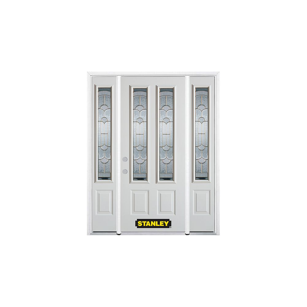 STANLEY Doors 66.5 inch x 82.375 inch Radiance Brass 2-Lite 2-Panel Prefinished White Right-Hand Inswing Steel Prehung Front Door with Sidelites and Brickmould