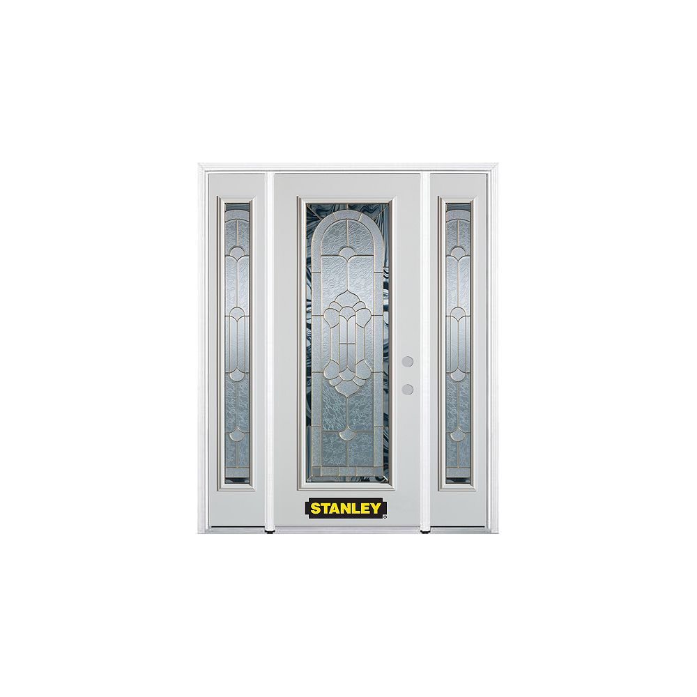STANLEY Doors 64.5 inch x 82.375 inch Radiance Brass Full Lite Prefinished White Left-Hand Inswing Steel Prehung Front Door with Sidelites and Brickmould