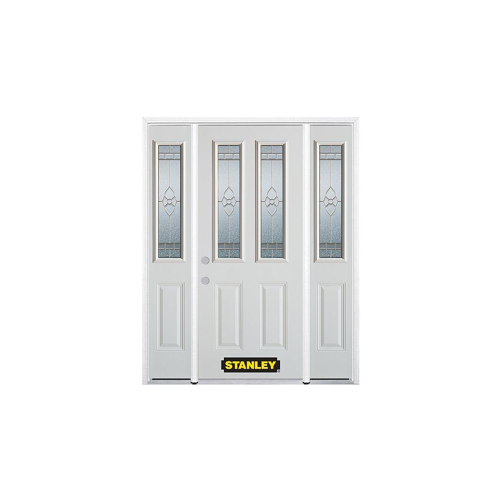 STANLEY Doors Porte dentrée en acier préfini en blanc, munie de deux panneaux et de deux verre, 68 po x 82 po avec panneaux latéraux et moulure de brique