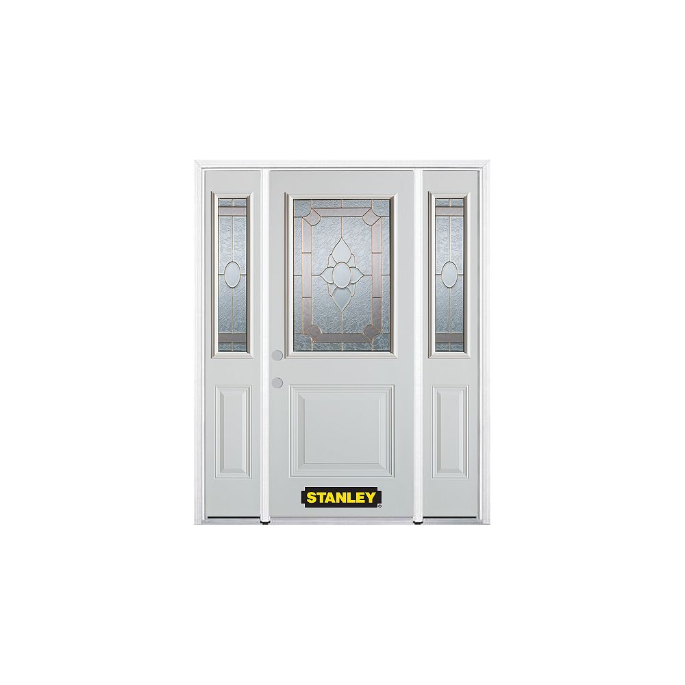 STANLEY Doors 66.5 inch x 82.375 inch Rochelle Brass 1/2 Lite 1-Panel Prefinished White Right-Hand Inswing Steel Prehung Front Door with Sidelites and Brickmould