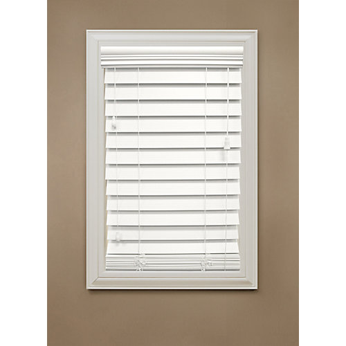 """54 in. x 48 in. White 2.5"""" Premium Faux Wood Blind"""