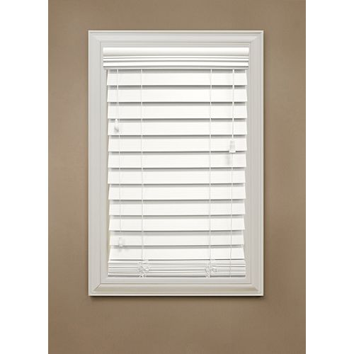 "Home Decorators Collection 72 in. x 48 in. White 2.5"" Premium Faux Wood Blind"