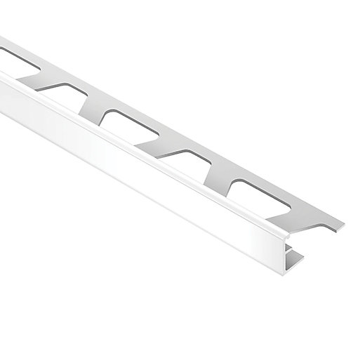 Jolly Bright White 5/16 in. x 8 ft. 2-1/2 in. PVC L-Angle Tile Edging Trim