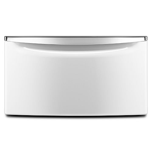 15.5-inch Laundry Pedestal with Storage Drawer in White/Chrome