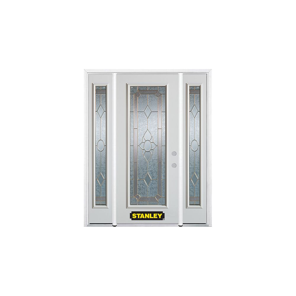 STANLEY Doors 64.5 inch x 82.375 inch Rochelle Brass Full Lite Prefinished White Left-Hand Inswing Steel Prehung Front Door with Sidelites and Brickmould