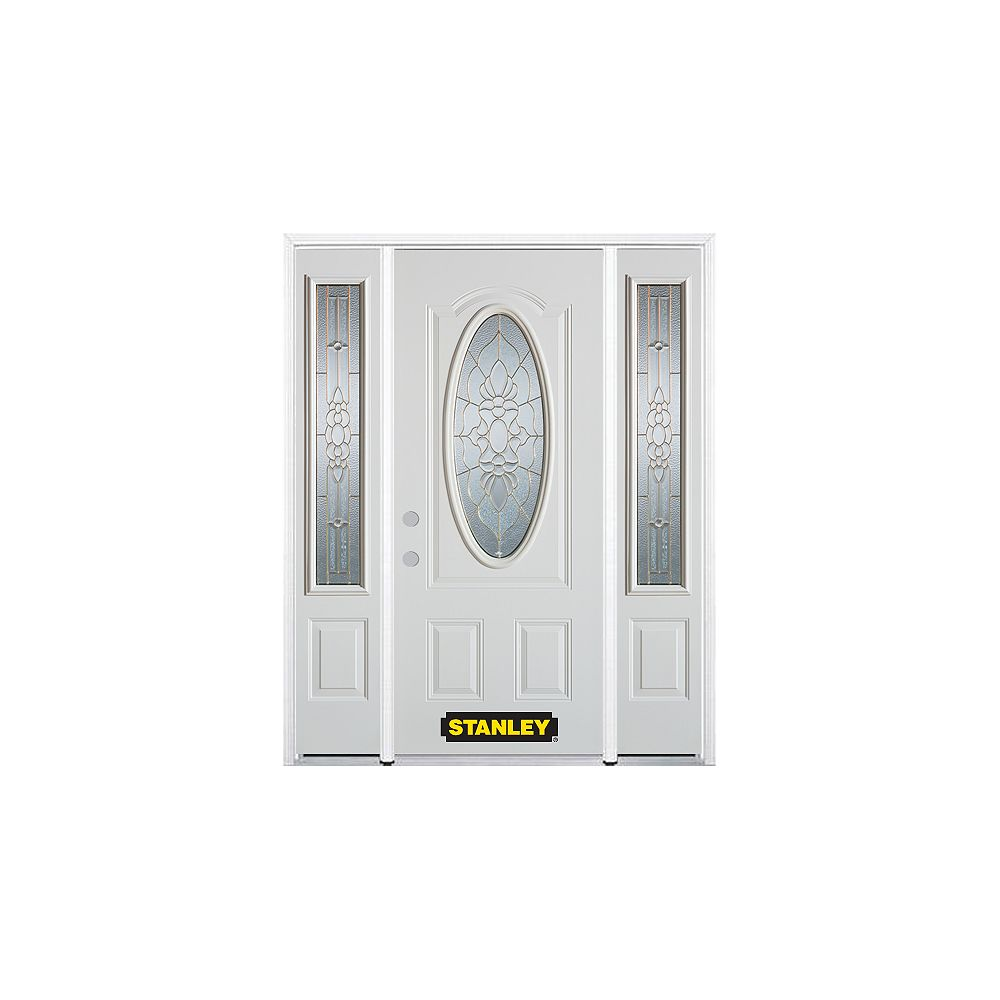 STANLEY Doors 66.5 inch x 82.375 inch Victoria Brass 3/4 Oval Lite 2-Panel Prefinished White Right-Hand Inswing Steel Prehung Front Door with Sidelites and Brickmould