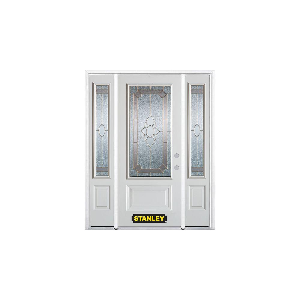 STANLEY Doors Porte dentrée en acier préfini en blanc, munie de deux panneaux et dun 3/4 verre, 64 po x 82 po avec panneaux latéraux et moulure de brique - ENERGY STAR®