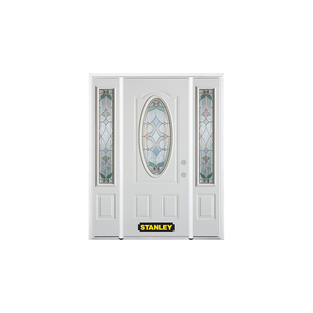 STANLEY Doors 64.5 inch x 82.375 inch Aristocrat Brass 3/4 Oval Lite 2-Panel Prefinished White Left-Hand Inswing Steel Prehung Front Door with Sidelites and Brickmould