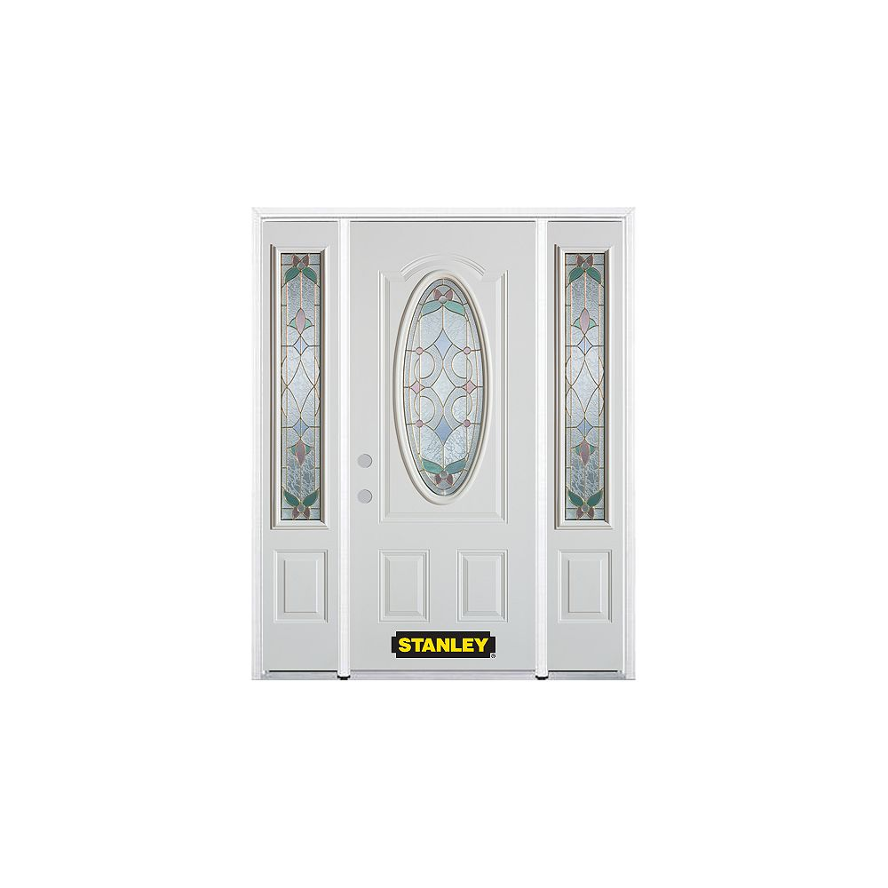 STANLEY Doors 64.5 inch x 82.375 inch Aristocrat Brass 3/4 Oval Lite 2-Panel Prefinished White Right-Hand Inswing Steel Prehung Front Door with Sidelites and Brickmould