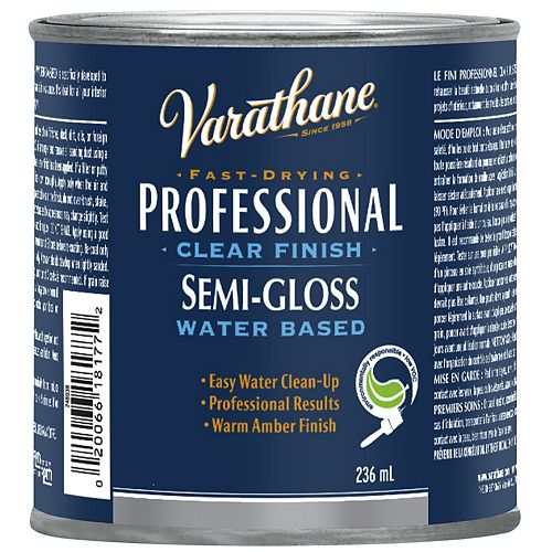 Professional Water-Based Clear Finish In Semi-Gloss Clear, 236 Ml