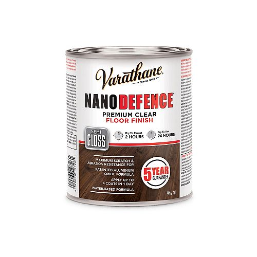 Varathane Nano Defence Premium Clear Floor Finish In Semi-Gloss Clear, 946 Ml