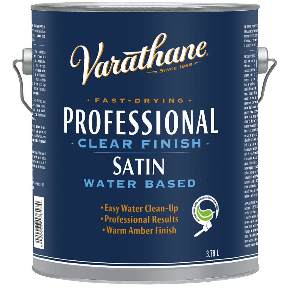 Varathane Professional Water-Based Clear Finish In Satin Clear, 3.78 L