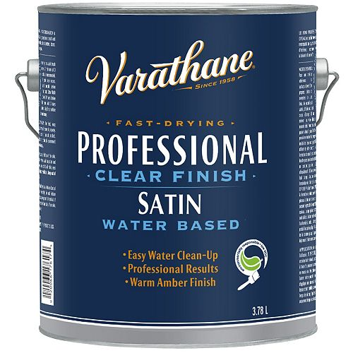 Professional Water-Based Clear Finish In Satin Clear, 3.78 L