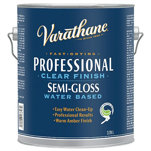 Professional Water-Based Clear Finish In Semi-Gloss Clear, 3.78 L