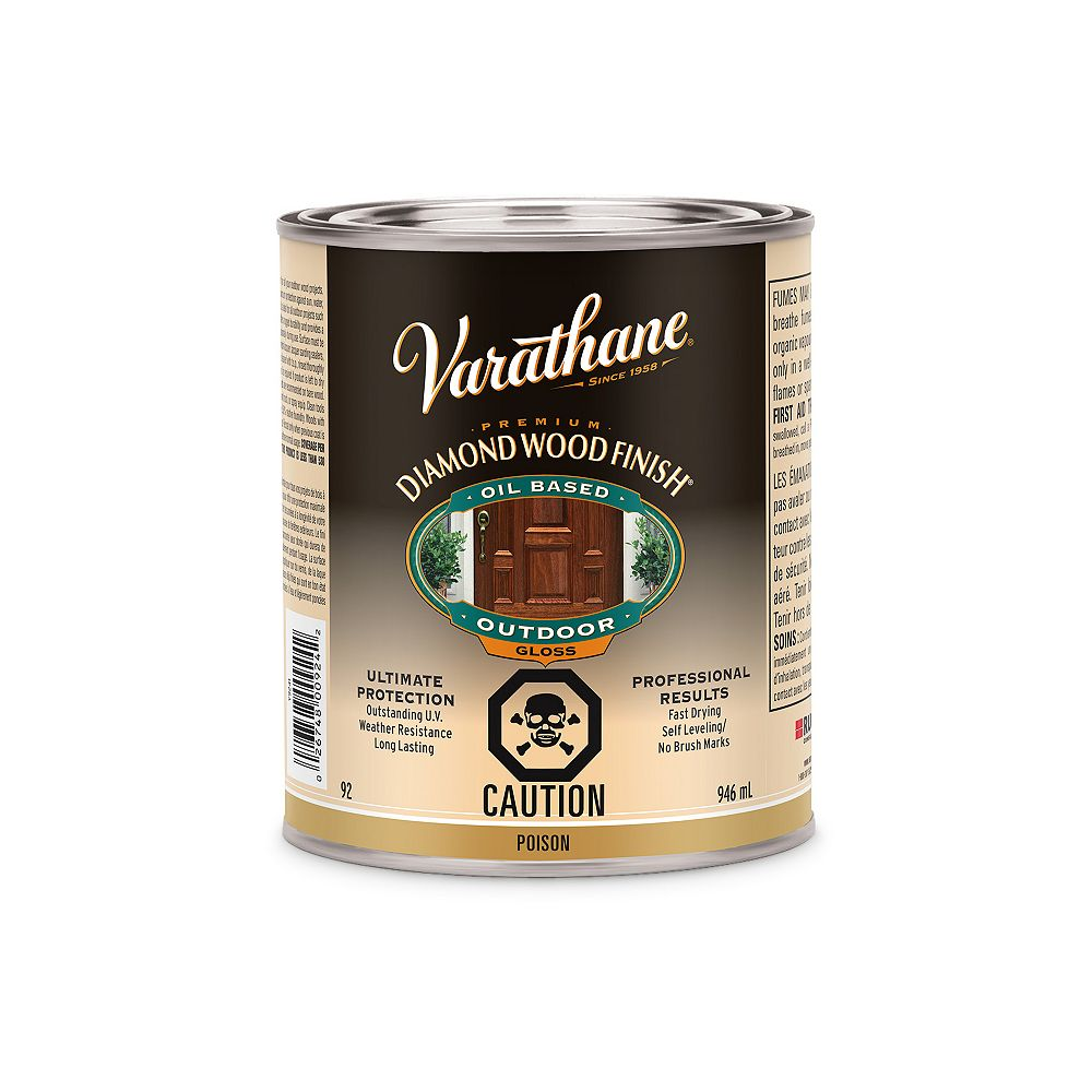 Varathane Premium Diamond Wood Finish For Outdoor, Oil-Based In Gloss Clear, 946 mL