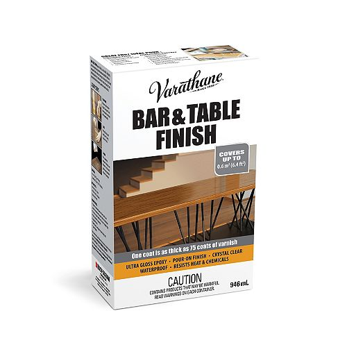 Varathane Barre et finition de table Verser de l'époxyde ultra épais dans du vernis ultra lustré transparent, 946 mL