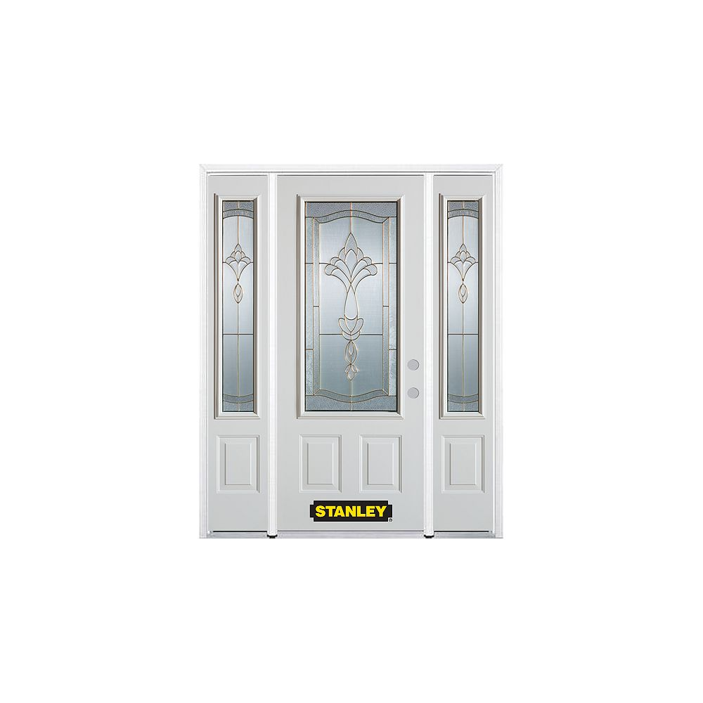 STANLEY Doors 66.5 inch x 82.375 inch Karina Brass 3/4 Lite 2-Panel Prefinished White Left-Hand Inswing Steel Prehung Front Door with Sidelites and Brickmould