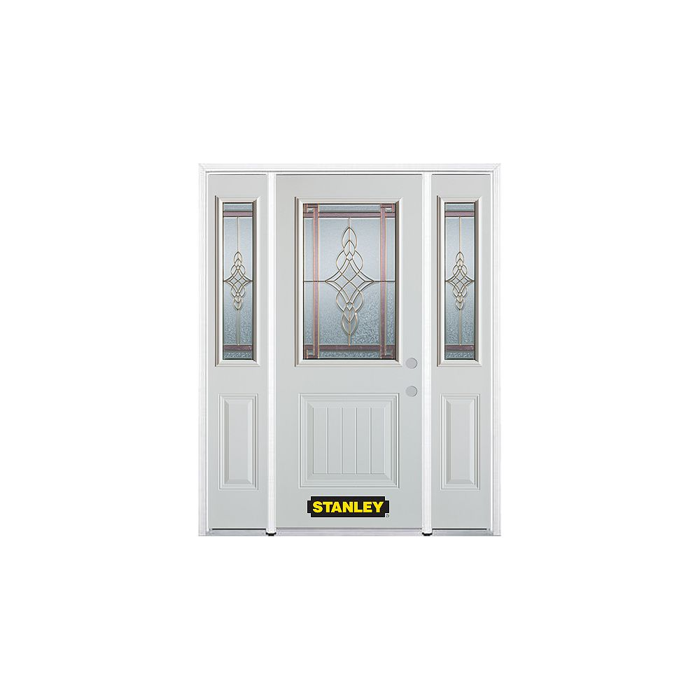 STANLEY Doors 64.5 inch x 82.375 inch Milano Brass 1/2 Lite 1-Panel Prefinished White Left-Hand Inswing Steel Prehung Front Door with Sidelites and Brickmould - ENERGY STAR®
