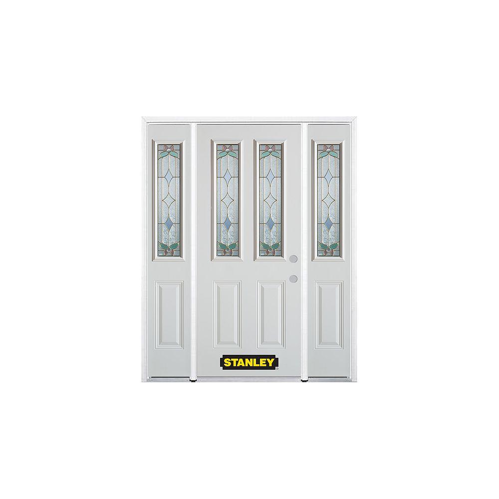 STANLEY Doors 68.5 inch x 82.375 inch Aristocrat Brass 2-Lite 2-Panel Prefinished White Left-Hand Inswing Steel Prehung Front Door with Sidelites and Brickmould