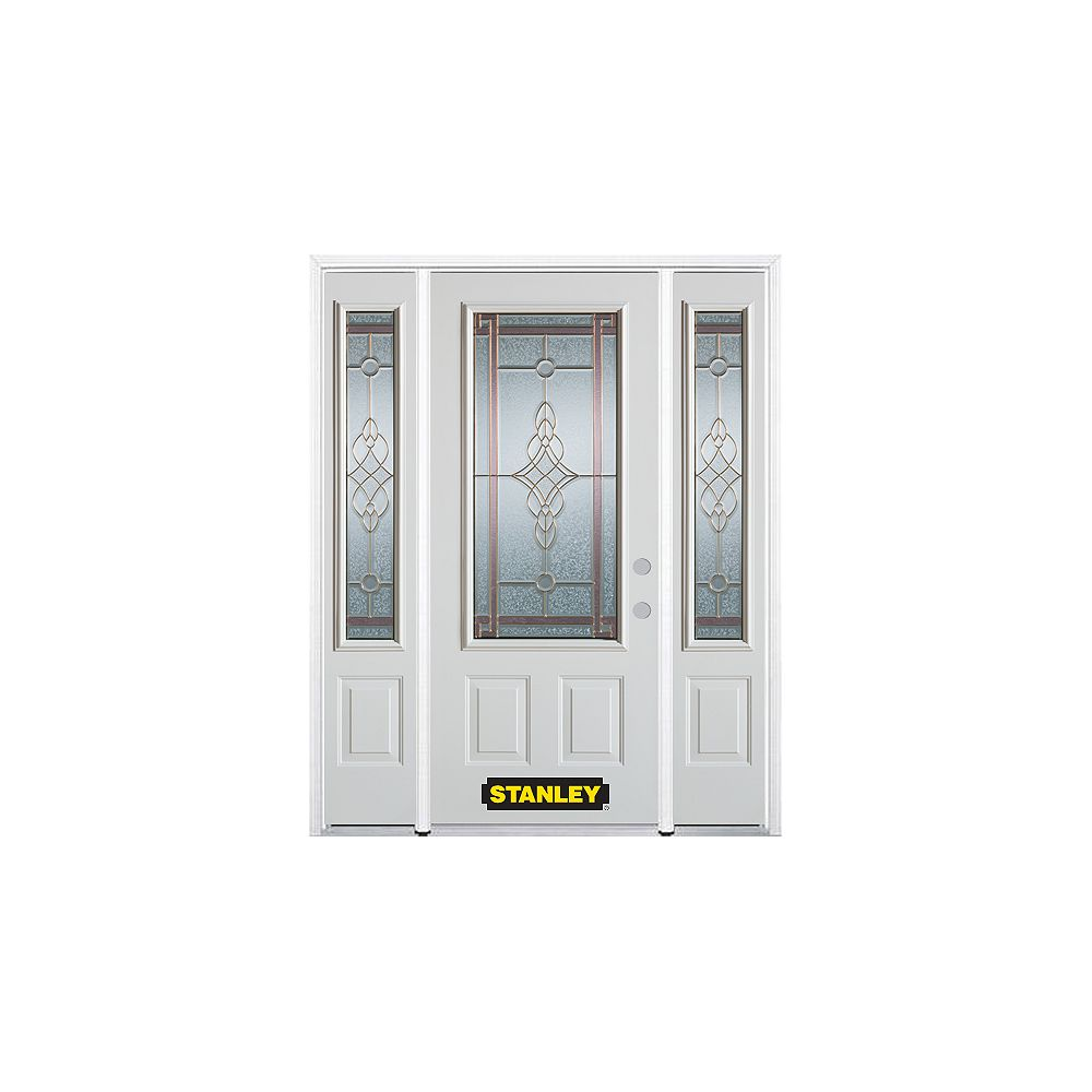 STANLEY Doors 66.5 inch x 82.375 inch Milano Brass 3/4 Lite 2-Panel Prefinished White Left-Hand Inswing Steel Prehung Front Door with Sidelites and Brickmould