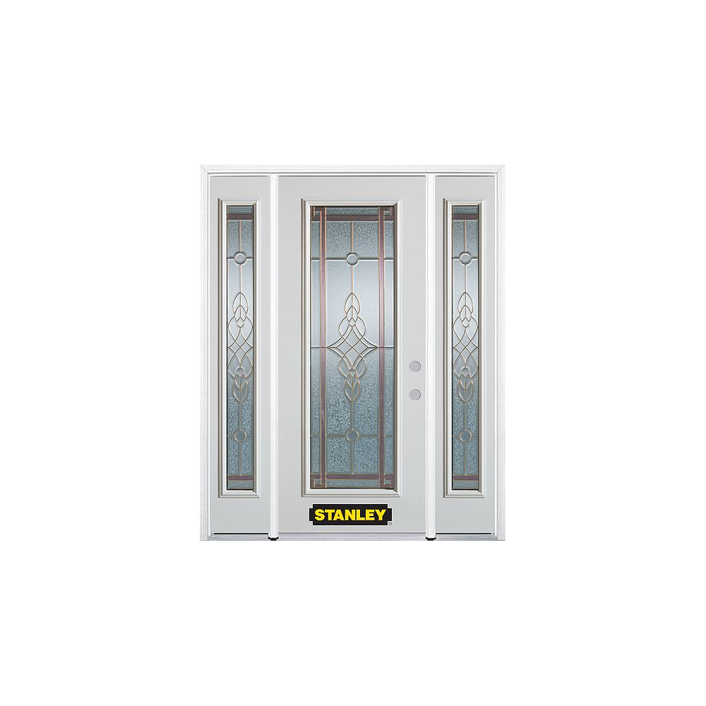 STANLEY Doors 64.5 inch x 82.375 inch Milano Brass Full Lite Prefinished White Left-Hand Inswing Steel Prehung Front Door with Sidelites and Brickmould
