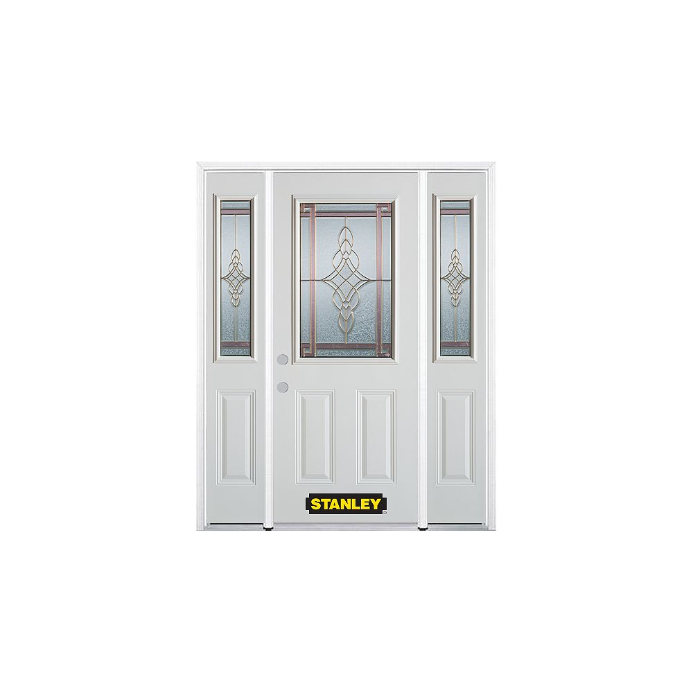 STANLEY Doors 68.5 inch x 82.375 inch Milano Brass 1/2 Lite 2-Panel Prefinished White Right-Hand Inswing Steel Prehung Front Door with Sidelites and Brickmould