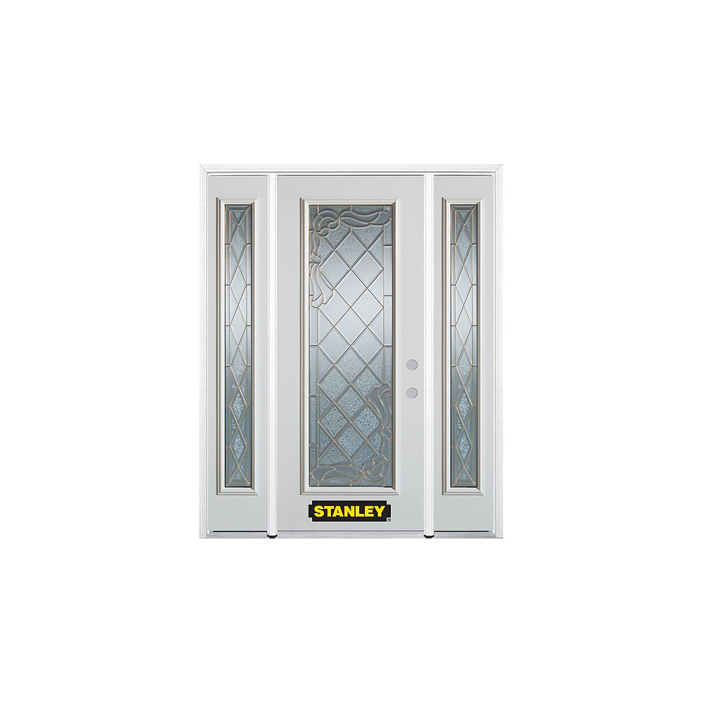 STANLEY Doors 68.5 inch x 82.375 inch Queen Anne Brass Full Lite Prefinished White Left-Hand Inswing Steel Prehung Front Door with Sidelites and Brickmould