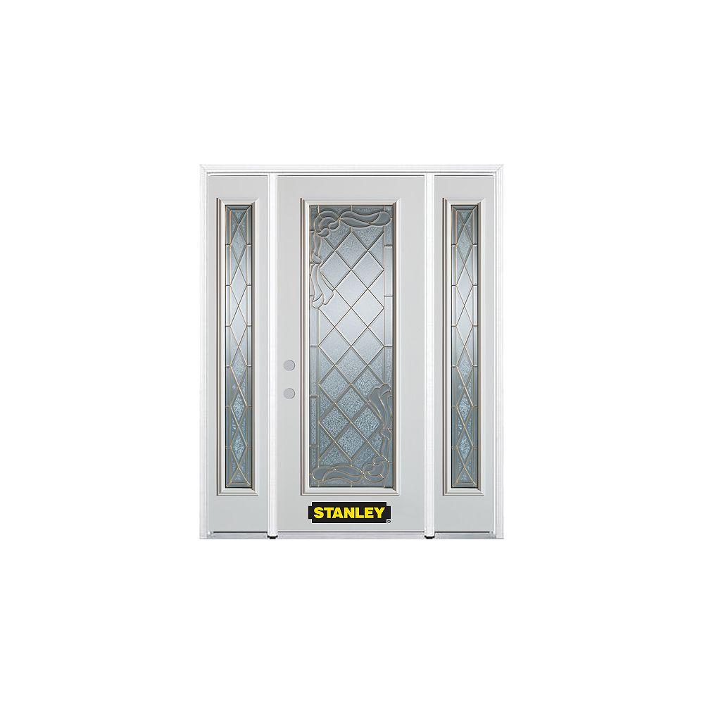 STANLEY Doors Porte dentrée en acier préfini en blanc, munie d'un panneau de verre, 66 po x 82 po avec panneaux latéraux et moulure de brique