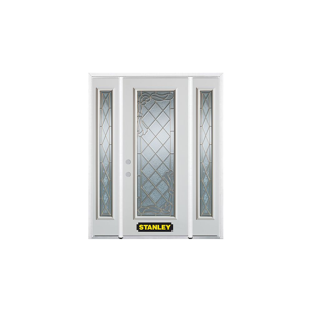 STANLEY Doors 64.5 inch x 82.375 inch Queen Anne Brass Full Lite Prefinished White Right-Hand Inswing Steel Prehung Front Door with Sidelites and Brickmould